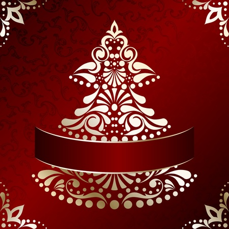 : Red and gold Christmas illustration with intricately designed Christmas tree. Graphics are grouped and in several layers for easy editing. The file can be scaled to any size. Vectores