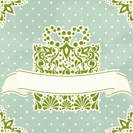 scroll border: Victorian style illustration with intricately designed Christmas present. Graphics are grouped and in several layers for easy editing. The file can be scaled to any size.