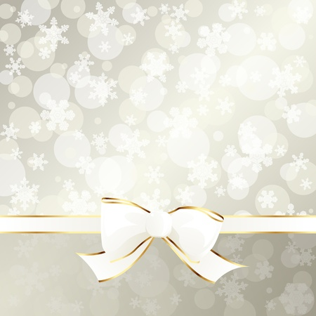 White and beige decorative holiday background with white ribbon. Graphics are grouped and in several layers for easy editing. The file can be scaled to any size. Vector
