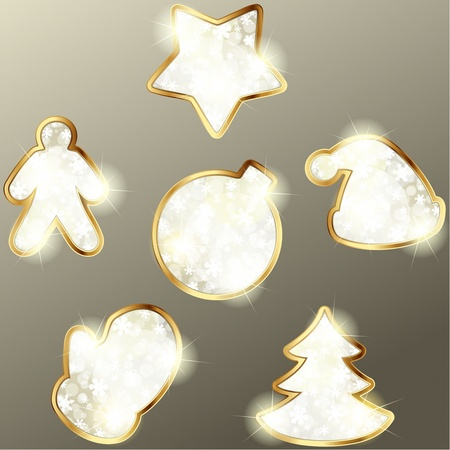wintry: Collection of gold and beige wintry design elements. Graphics are grouped and in several layers for easy editing. The file can be scaled to any size.