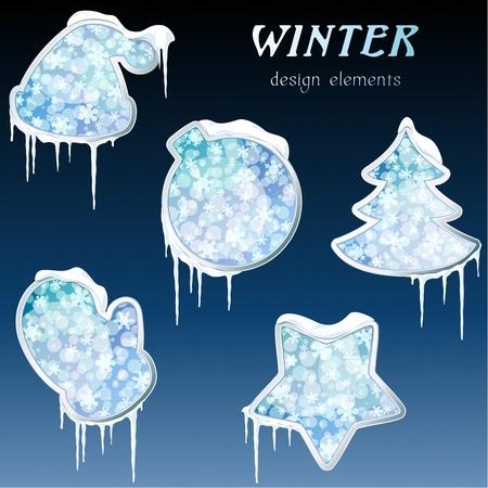 Het verzamelen van blauwe ijzige winterse design elementen. Graphics zijn gegroepeerd en in meerdere lagen voor eenvoudige bewerking. Het bestand kan worden geschaald naar elk formaat.