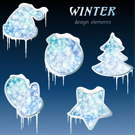 Collection of icy blue wintry design elements. Graphics are grouped and in several layers for easy editing. The file can be scaled to any size. Vettoriali