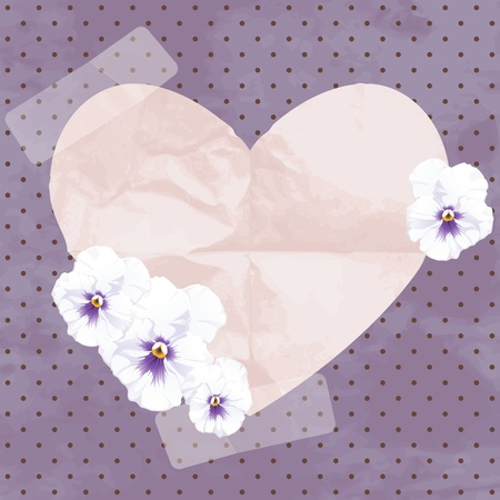 Romantic vintage illustration with white pansies. Graphics are grouped and in several layers for easy editing. The file can be scaled to any size. Vector