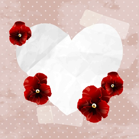 19th: Romantic vintage illustration with red pansies. Graphics are grouped and in several layers for easy editing. The file can be scaled to any size.