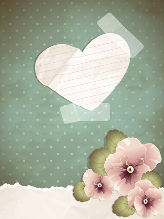 Romantic vintage illustration with pink pansies. Graphics are grouped and in several layers for easy editing. The file can be scaled to any size.