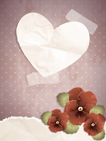 Romantic vintage illustration with red pansies. Graphics are grouped and in several layers for easy editing. The file can be scaled to any size.