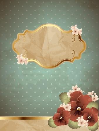 Romantische bloemen uitstekende illustratie in blauw, met metalen decoratieve elementen. Graphics zijn gegroepeerd en in verschillende lagen voor eenvoudige bewerking. Het bestand kan worden geschaald naar elke grootte. Stock Illustratie