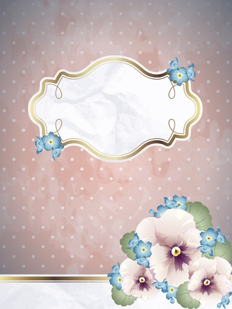 Romantic floral vintage illustration in pink, with metallic decorative elements. Graphics are grouped and in several layers for easy editing. The file can be scaled to any size.