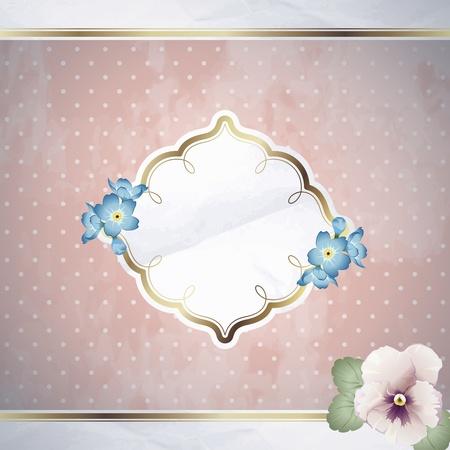 금속 장식 요소와 핑크 로맨틱 꽃 빈티지 그림. 그래픽은 쉽게 편집 할 그룹화 및 여러 레이어. 파일 크기를 확장 할 수 있습니다. 일러스트