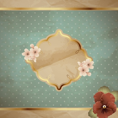 Romantic floral vintage illustration in blue, with metallic decorative elements. Graphics are grouped and in several layers for easy editing. The file can be scaled to any size.