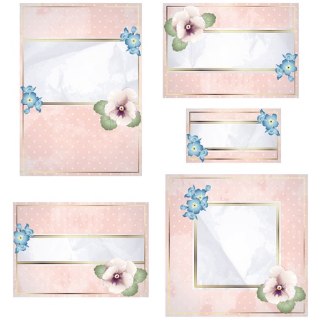 Elegant vintage pink and white banner design with flowers. Graphics are grouped and in several layers for easy editing. The file can be scaled to any size.  イラスト・ベクター素材