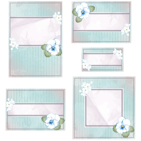scaled: Elegant vintage pink and blue banner design with flowers. Graphics are grouped and in several layers for easy editing. The file can be scaled to any size.