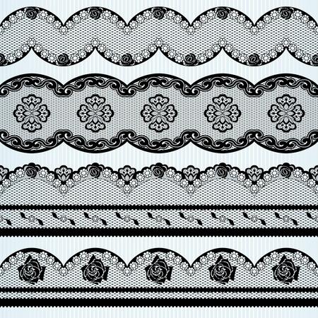 Set van vier geborduurde linten Graphics zijn gegroepeerd en in verschillende lagen voor eenvoudige bewerking Het bestand kan worden geschaald naar elke grootte Stock Illustratie