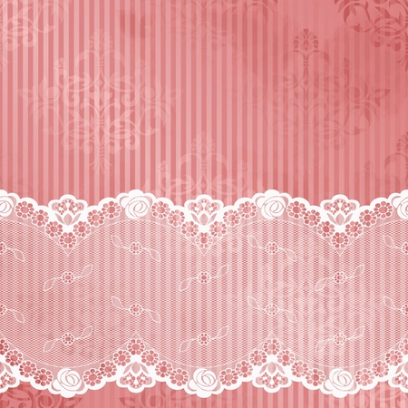 White French lace design on pink background  Graphics are grouped and in several layers for easy editing  The file can be scaled to any size  Stock Vector - 12496181