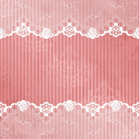 White French lace design on pink background  Graphics are grouped and in several layers for easy editing  The file can be scaled to any size