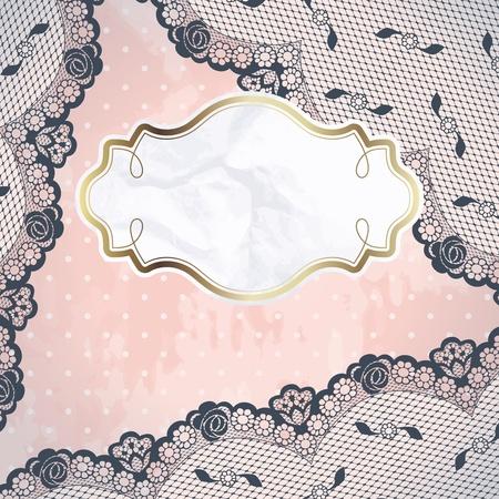 El diseño de carbón encaje francés con la etiqueta de papel en imágenes gráficas del fondo de color rosa y se agrupan en varias capas para editar fácilmente el archivo se puede escalar a cualquier tamaño Foto de archivo - 12496174