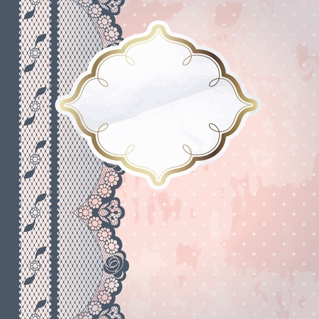 Charcoal French lace design with paper label on pink background  Graphics are grouped and in several layers for easy editing  The file can be scaled to any size  Vector