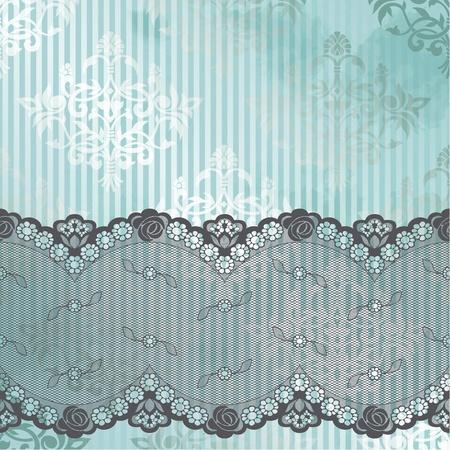 Zwarte Franse kant ontwerp op een blauwe achtergrond Graphics zijn gegroepeerd en in verschillende lagen voor eenvoudige bewerking Het bestand kan worden geschaald naar elke grootte Stockfoto - 12496200