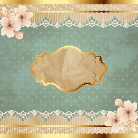 19th century: Romantic floral vintage illustration with lacy decorative elements  Graphics are grouped and in several layers for easy editing  The file can be scaled to any size