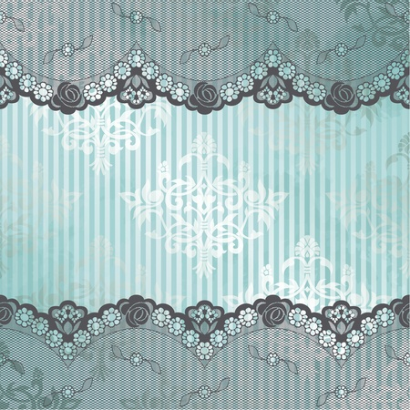 Black French lace design on blue background  Graphics are grouped and in several layers for easy editing  The file can be scaled to any size  Vector