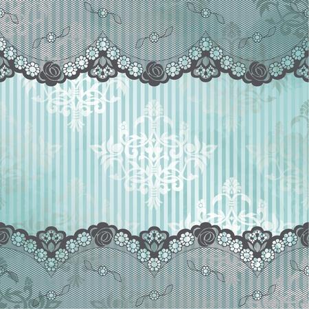 Zwarte Franse kant ontwerp op een blauwe achtergrond Graphics zijn gegroepeerd en in verschillende lagen voor eenvoudige bewerking Het bestand kan worden geschaald naar elke grootte Stock Illustratie