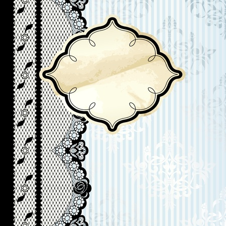 Black French lace design with gold label on blue background  Graphics are grouped and in several layers for easy editing  The file can be scaled to any size