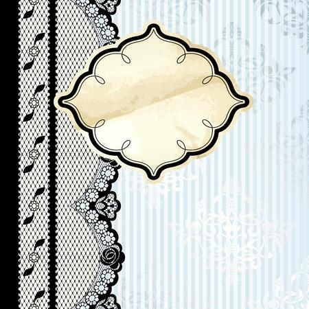 Nero Design pizzo francese con etichetta oro su sfondo blu Grafica e sono raggruppati in diversi livelli per un facile montaggio Il file può essere scalata a qualsiasi dimensione Archivio Fotografico - 12496172