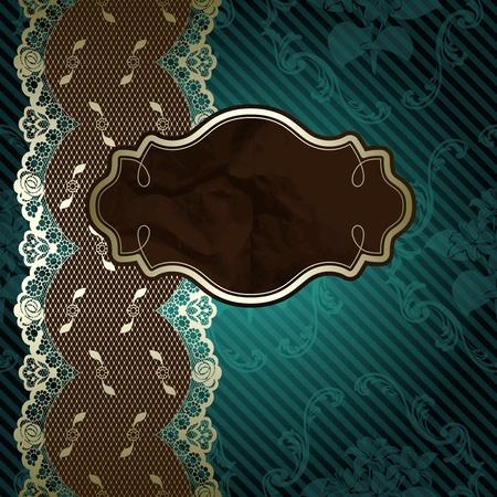Diseño de encaje francés con etiqueta marrón sobre fondo floral verde oscuro Los gráficos están agrupados y en varias capas para facilitar la edición Foto de archivo - 12798016