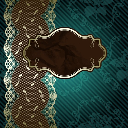 French lace design with brown label on floral dark green background  Graphics are grouped and in several layers for easy editing  Vector