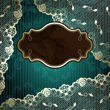 French lace design with brown label on floral dark green background  Graphics are grouped and in several layers for easy editing  Иллюстрация