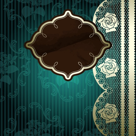 French lace design with brown label on floral dark green background  Graphics are grouped and in several layers for easy editing   Vectores