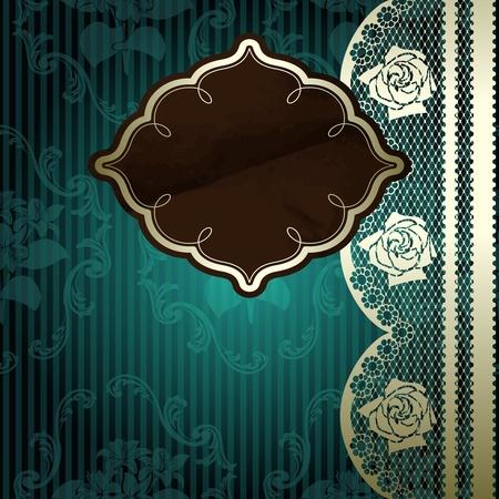 Franse kant design met bruin etiket op bloemen donkergroene achtergrond Graphics zijn gegroepeerd en in verschillende lagen voor eenvoudige bewerking
