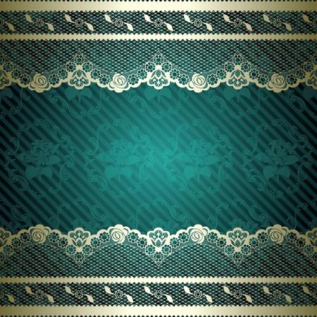 Franse kant ontwerp met bloemen donkergroene achtergrond Graphics zijn gegroepeerd en in verschillende lagen voor eenvoudige bewerking