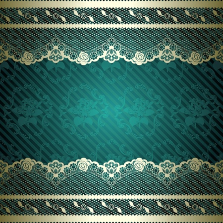 French lace design with floral dark green background  Graphics are grouped and in several layers for easy editing   Vector