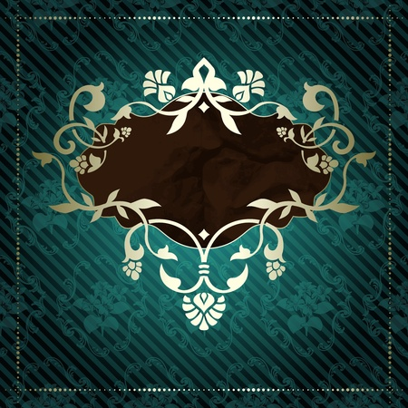 Elegant deep green banner inspired by Rococo era designs  Graphics are grouped and in several layers for easy editing  Vector