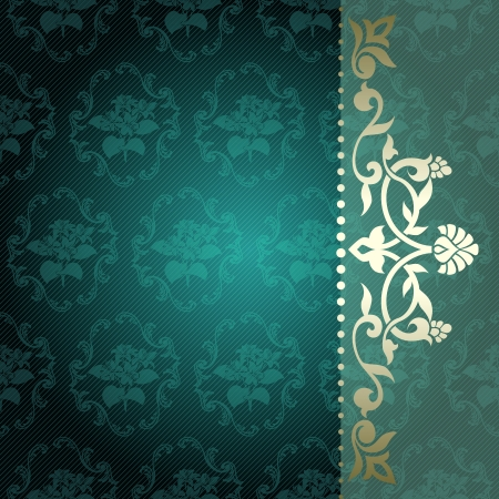 Elegant deep green arabesque background with floral metallic ornaments  Graphics are grouped and in several layers for easy editing Vettoriali