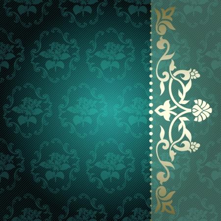terciopelo azul: Elegante profunda fondo verde con arabescos florales gr�ficos adornos met�licos se agrupan en varias capas para una f�cil edici�n