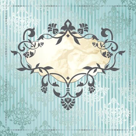 Elégant et d'argent bannière bleu inspiré par les dessins de l'époque rococo graphiques sont regroupés en plusieurs couches pour faciliter le montage Banque d'images - 12798002