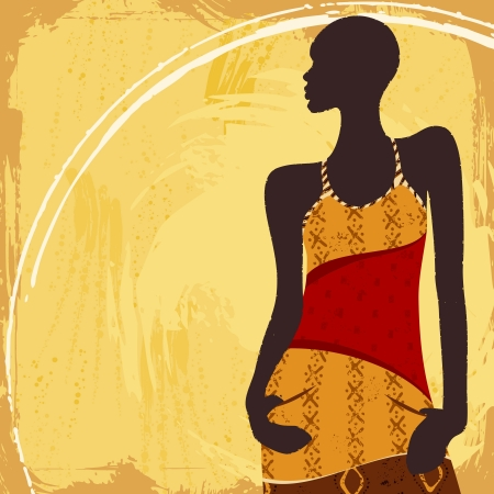 Grunge style background with an African woman s silhouette in a fashionable, patterned dress  Graphics are grouped and in several layers for easy editing  The file can be scaled to any size  Ilustracja
