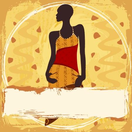 femme africaine: Grunge style background avec la silhouette d'une femme afro-s dans un mode, robe � motifs graphiques sont regroup�s en plusieurs couches pour faciliter l'�dition Le fichier peut �tre adapt� � n'importe quelle taille