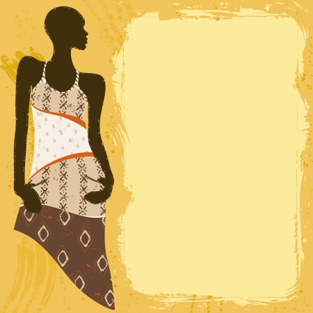 Grunge style background with an African woman s silhouette in a fashionable, patterned dress  Graphics are grouped and in several layers for easy editing  The file can be scaled to any size  Иллюстрация