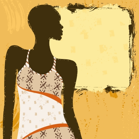 Grunge style background with an African woman s silhouette in a fashionable, patterned dress  Graphics are grouped and in several layers for easy editing  The file can be scaled to any size  Vettoriali