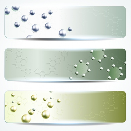 Three green science banners with molecules  Graphics are grouped and in several layers for easy editing  The file can be scaled to any size  Vector