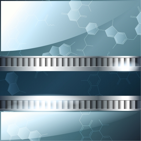 Blue background with molecules and metallic banner  Graphics are grouped and in several layers for easy editing  The file can be scaled to any size  Vector