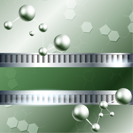 Green background with molecules and metallic banner  Graphics are grouped and in several layers for easy editing  The file can be scaled to any size