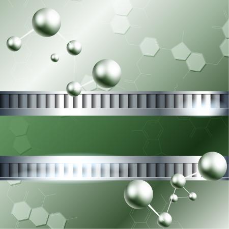 quimica organica: Fondo verde con las moléculas y Imágenes metálicos bandera y se agrupan en varias capas para editar fácilmente el archivo se puede escalar a cualquier tamaño Vectores