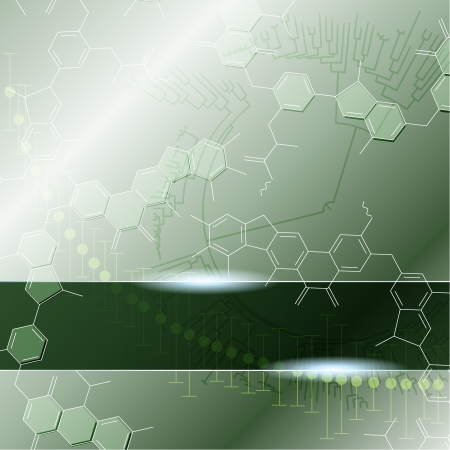 Green background with molecules  Graphics are grouped and in several layers for easy editing  The file can be scaled to any size  Vector