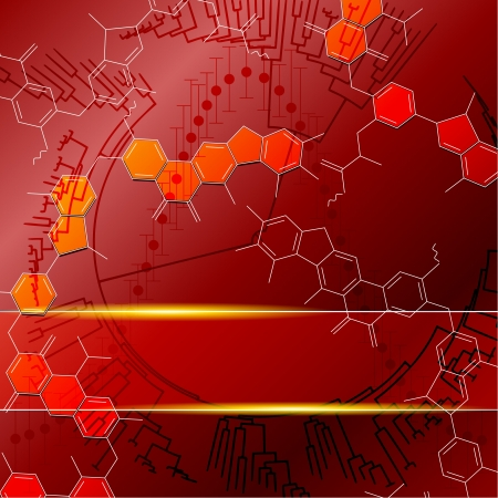 Red background with molecules  Graphics are grouped and in several layers for easy editing  The file can be scaled to any size