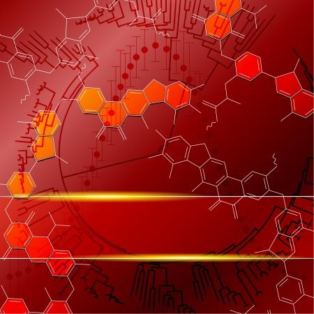 biologia molecular: Fondo rojo con gr�ficos mol�culas se agrupan en varias capas para editar f�cilmente el archivo se puede escalar a cualquier tama�o