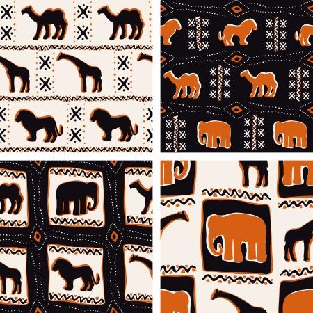 Vier naadloze patronen geïnspireerd door Afrikaanse textiel De tegels kunnen naadloos worden gecombineerd Graphics zijn gegroepeerd en in verschillende lagen voor eenvoudige bewerking Het bestand kan worden geschaald naar elke grootte